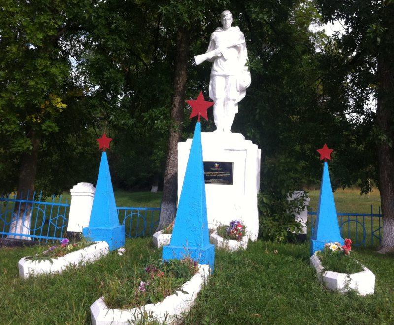 ст-ца. Ереминская Лабинского р-на. Памятник по улице Ленина, установленный на братской могиле воинов, погибших в годы гражданской и Великой Отечественной войн.