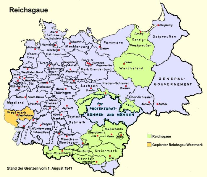 Карта Протектората Богемии и Моравии в составе Третьего рейха (1939-1945 гг.).