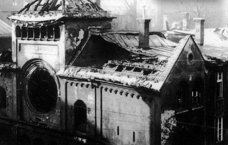 Мюнхенская синагога «Охель Яаков», разгромленная во время «Хрустальной ночи».