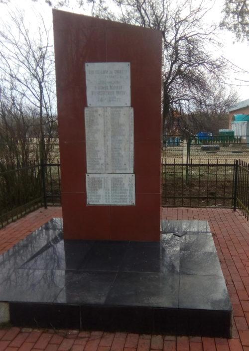 х. Новогурийский Белореченского р-на. Памятник землякам, установленный в переулке Южный.