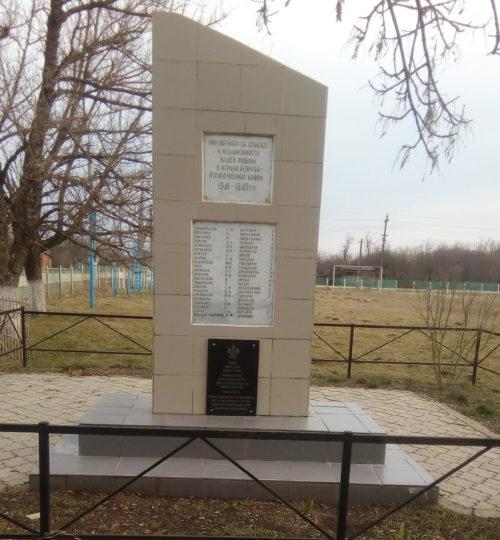 ст-ца. Октябрьская Белореченского р-на. Памятник землякам, установленный у школы по улице Красной.