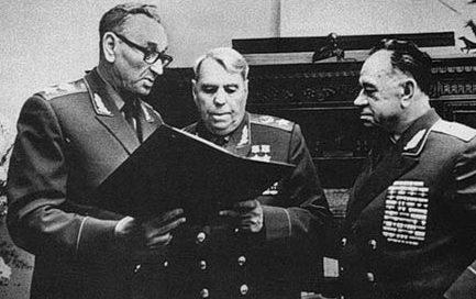 Маршал Громыко, генерал армии Епишев и маршал Василевский. 1970 г.