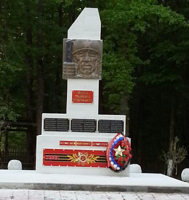 х. Терновый Белореченского р-на. Памятник землякам, установленный по улице Спортивной.