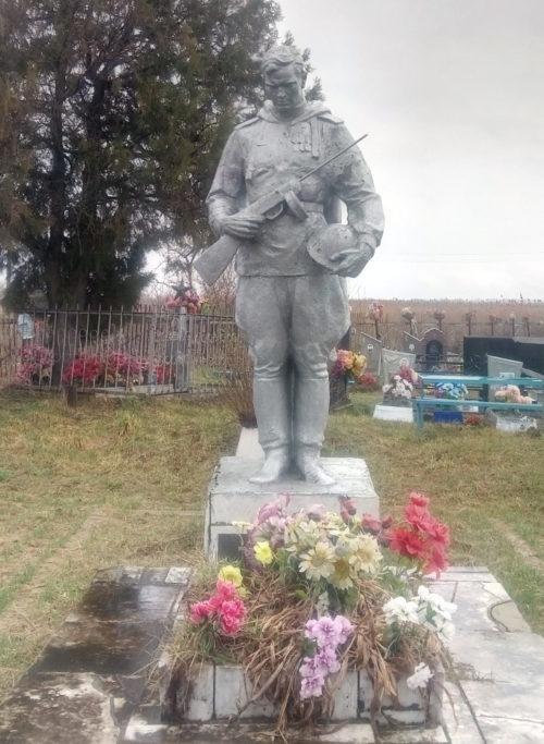 х. Туркинский Белореченского р-на. Памятник на кладбище, установленный на братской могиле советских воинов, погибших в годы войны.