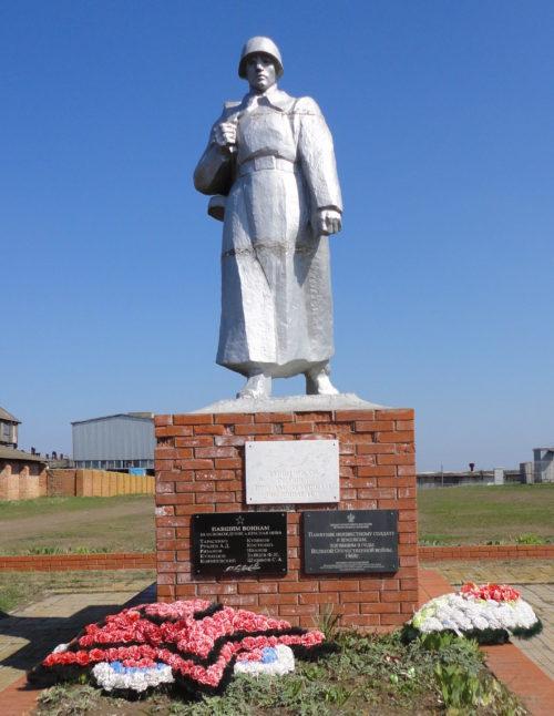х. Красная Нива Брюховецкого р-на. Памятник Неизвестному Солдату, установленный по улице Длинная 115.