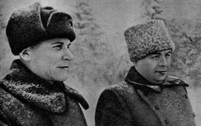 Командование Калининского фронта: И.С.Конев, М.В.Захаров. 1942 г.