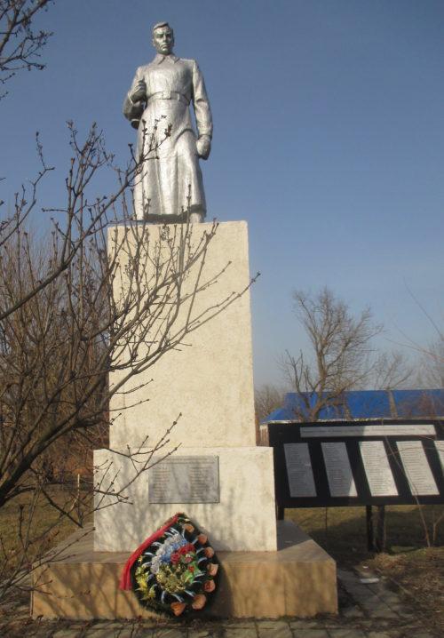х. Крикуна Красноармейского р-на. Памятник по улице Центральной 77а, установленный на братской могиле советских воинов, погибших в годы войны.