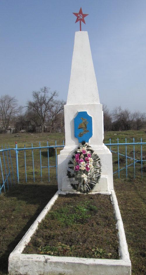 х. Нардегин Кущевского р-на. Памятник по улице Молодежной 2, установленный на братской могиле советских воинов.