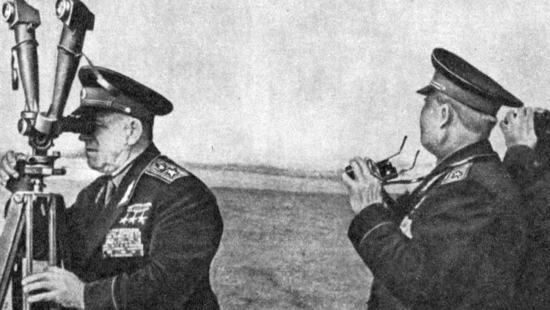 Г.К. Жуков и И.С. Конев на учениях «Днепр». Сентябрь 1967 г.