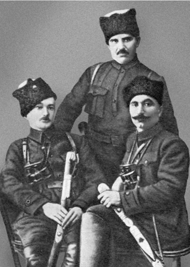 С. M. Буденный, В. А. Погребов и Г. К. Сиденко. 1919 г.