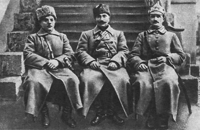 Климент Ворошилов, Семен Буденный и Ефим Щаденко. 1920 г.