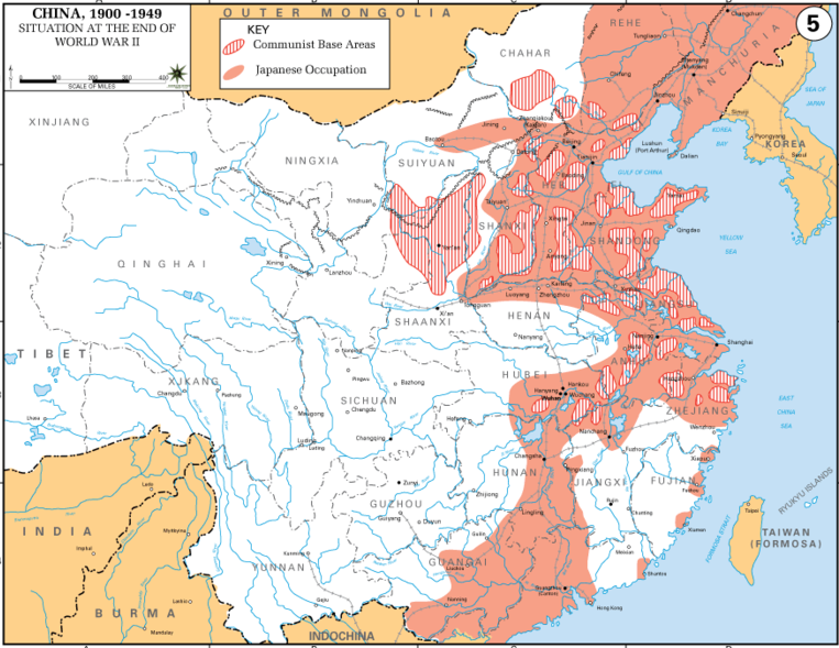 Карта «ползучей» оккупации Японией территории Китая.
