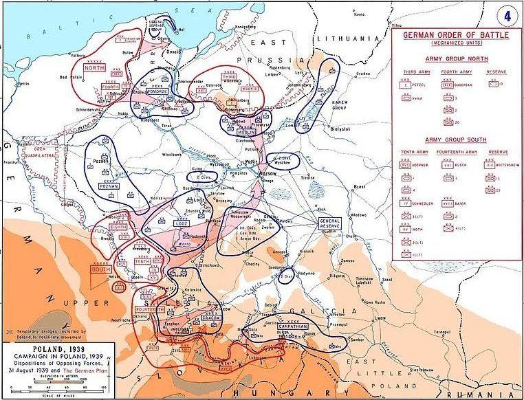Исходные позиции войск и планируемые основные удары согласно плану «Вайс».