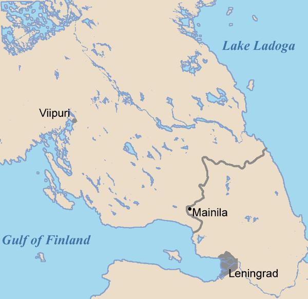 Посёлок Майнила на карте Карельского перешейка. 1939 г.