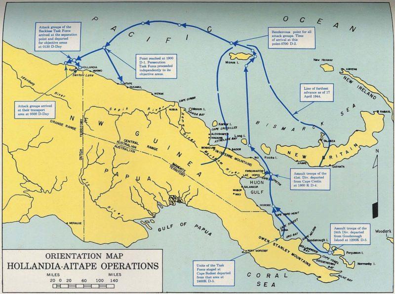 Схема высадки американских войск в Аитапе.