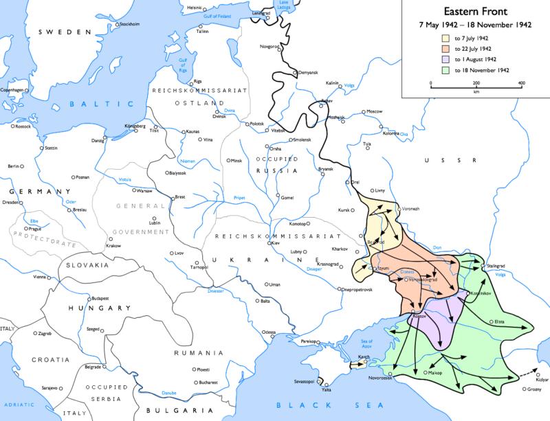 Продвижение Германии с 7 мая по 18 ноября 1942 года.