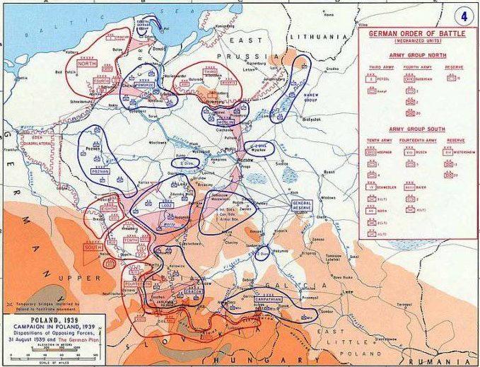 Диспозиция сил противников на 31 августа 1939 года и польская кампания 1939 года.
