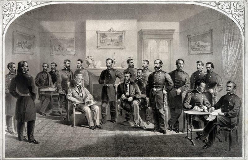 Федеральный главнокомандующий Улисс Грант принимает капитуляцию Северовирджинской армии. 9 апреля 1865 года.