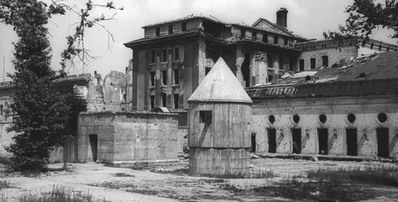 Выход из бункера в сквер двора Рейхсканцелярии, где были сожжены трупы Гитлера и Евы Браун.