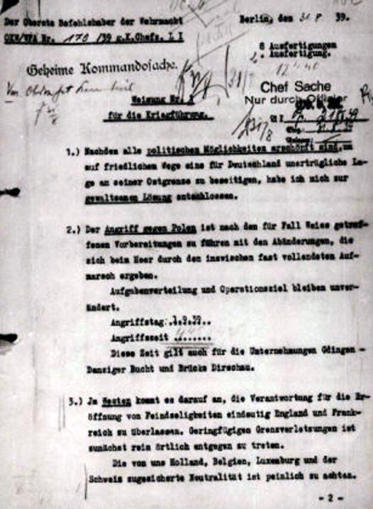 Директива Гитлера № 1 о ведении войны от 31.08.1939 г.