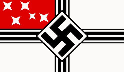 Флаг «Новой Швабии», которым немцы зачем-то утыкали контингент.