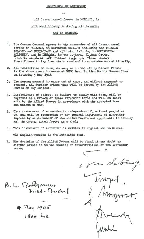 Подписанный акт капитуляции в Люнебургской пустоши.