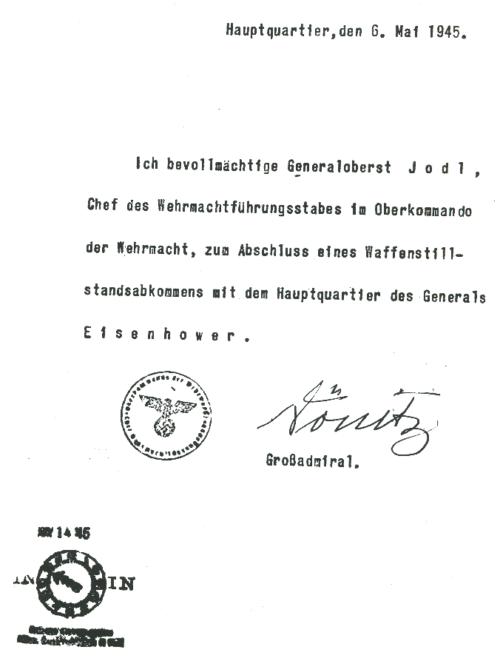 Документ, уполномочивающий генерал-полковника Альфреда Йодля на подписание капитуляции.