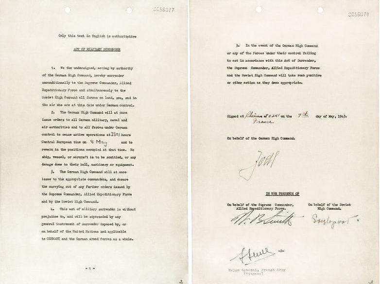 Акт о капитуляции подписанный в Реймсе 7 мая 1945 года.