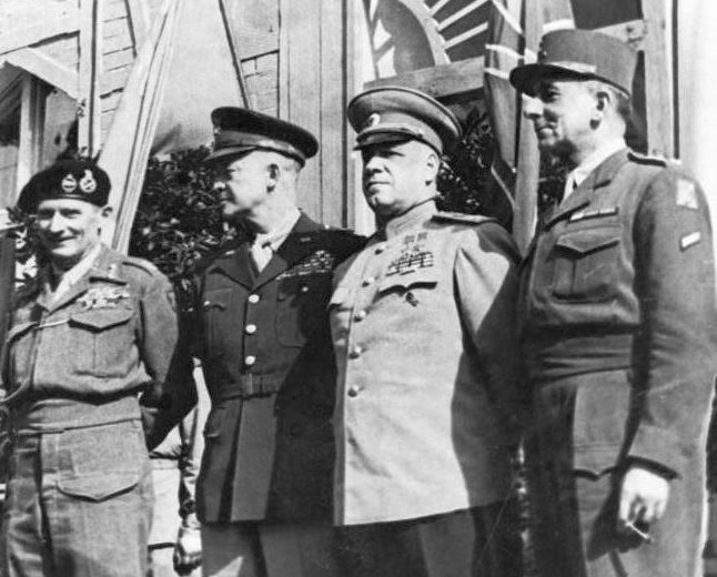 Главнокомандующие союзнических войск – подписанты Декларации. Берлин, 5 июня 1945 г.