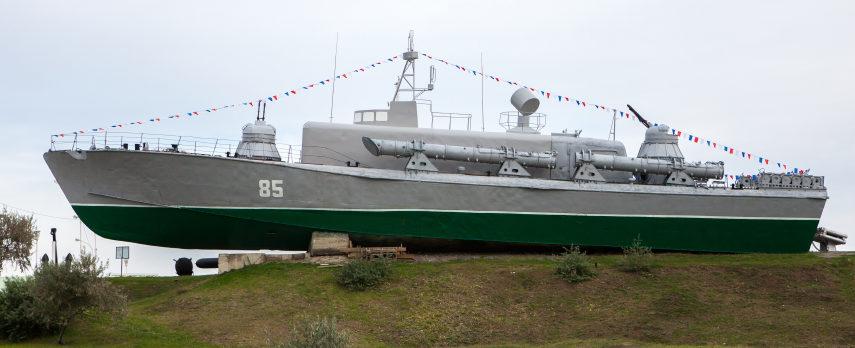г. Темрюк. Торпедный катер-памятник морякам Азовской военной флотилии.