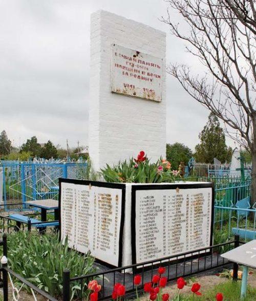 ст-ца. Манычская Багаевского р-на. Памятник на кладбище, установленный на братской могиле, в которой похоронено 400 советских воинов, в т.ч. 263 неизвестных, погибших в годы войны.
