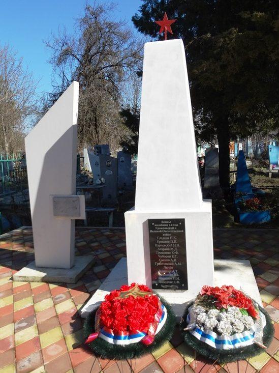 г. Усть-Лабинск. Памятник по улице Островского, установленный на братской могиле воинов, погибших в годы Гражданской и Великой Отечественной войн.