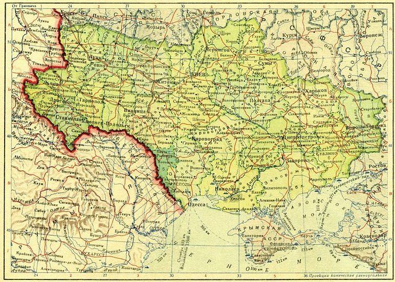 Бессарабия и Украинская ССР в границах 1939 года.