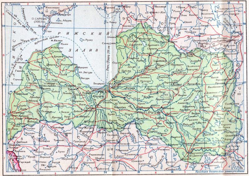 Карта Латвийской ССР. 1940 г.