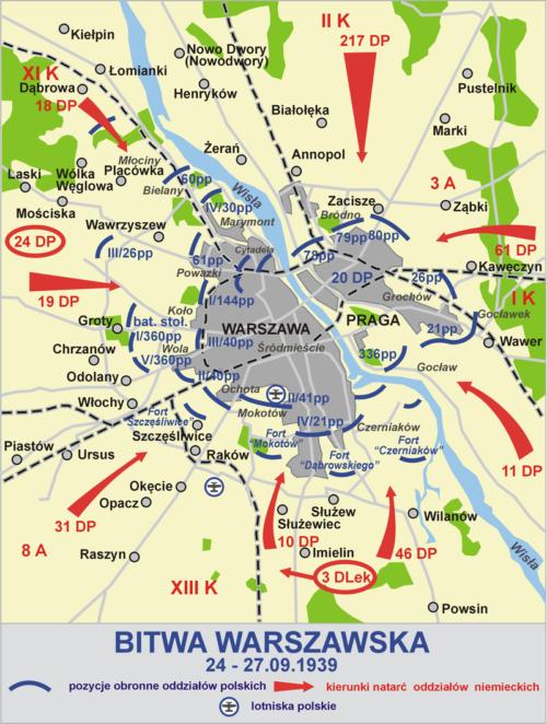 Карта-схема Варшавы в осаде.