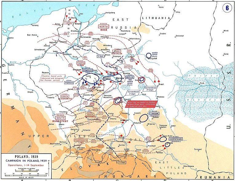 Карта-схема контрнаступления польских войск в битве на Бзуре.