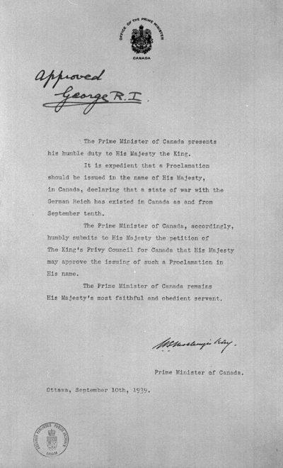Декларация премьер-министра Маккензи Кинга королю Георгу VI об одобрении объявления войны против Германии 10 сентября 1939 года.