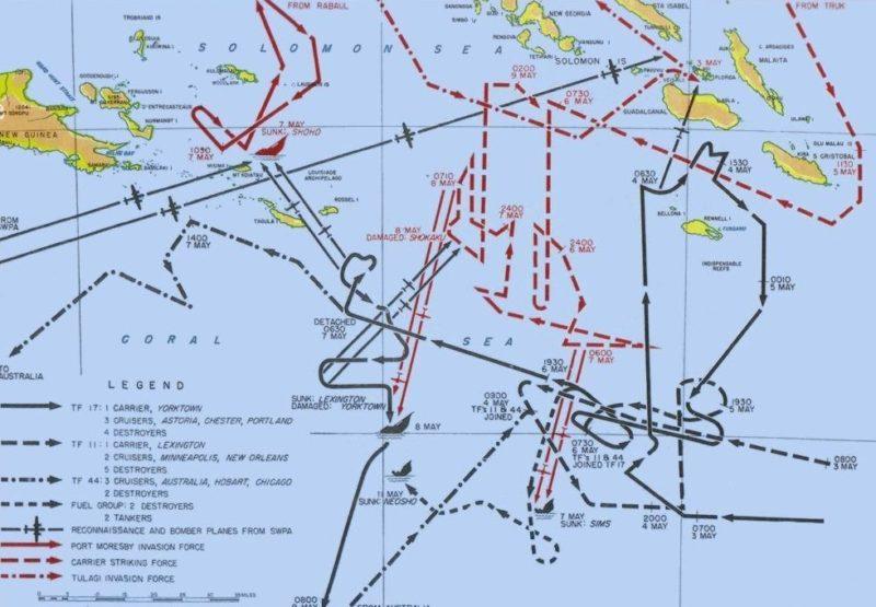 Карта сражения 3-9 мая, показаны перемещения основных сил.