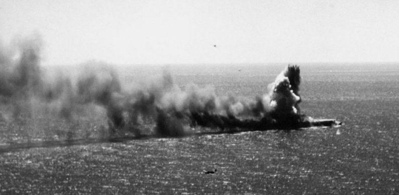 Пожар на авианосце «Сёхо». 7 мая 1942 г.