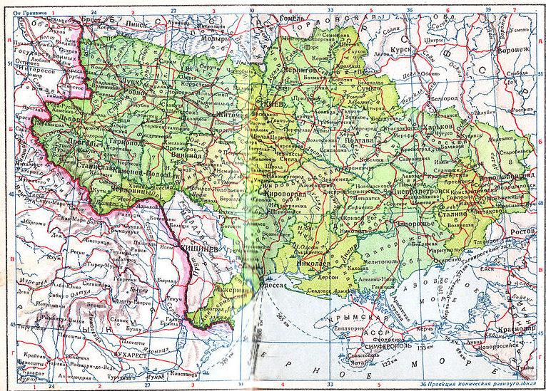 Молдавская ССР и Украинская ССР в границах 1940 года.