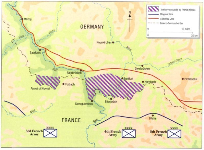 Карта-схема расположения французских войск на занятой немецкой территории во время Саарского наступления.