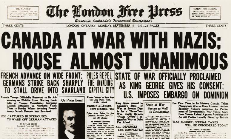 Сообщение в газетах об объявлении Канадой войны Германии.