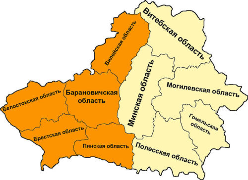 Административное деление Белоруссии в 1940 году.