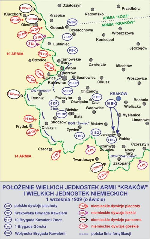 Расположение армии «Краков» и немецких войск 01.09.1939 г.