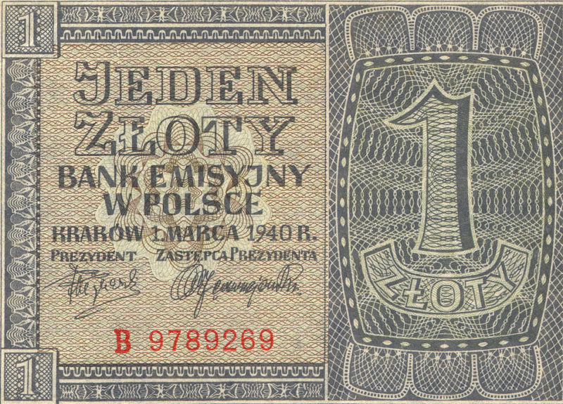 1 злотый 1940 года.