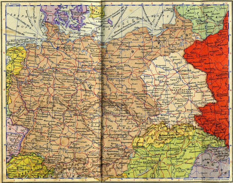 Карта Германии из советского карманного Атласа мира 1940 г. Генерал-губернаторство подписано как «Область Государственных Интересов Германии».