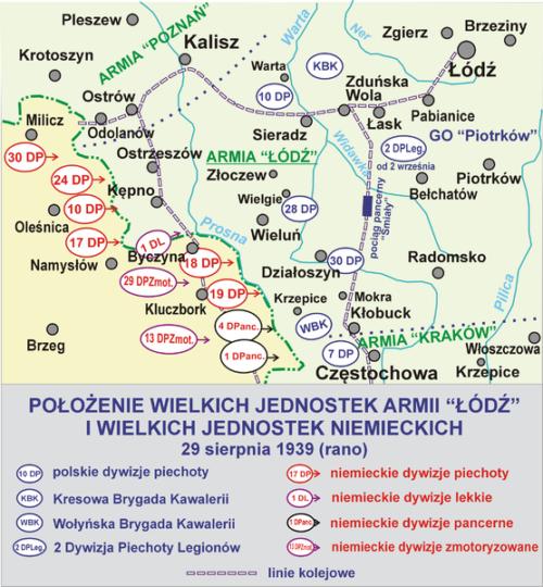 Дислокация польских и немецких войск перед сражением.