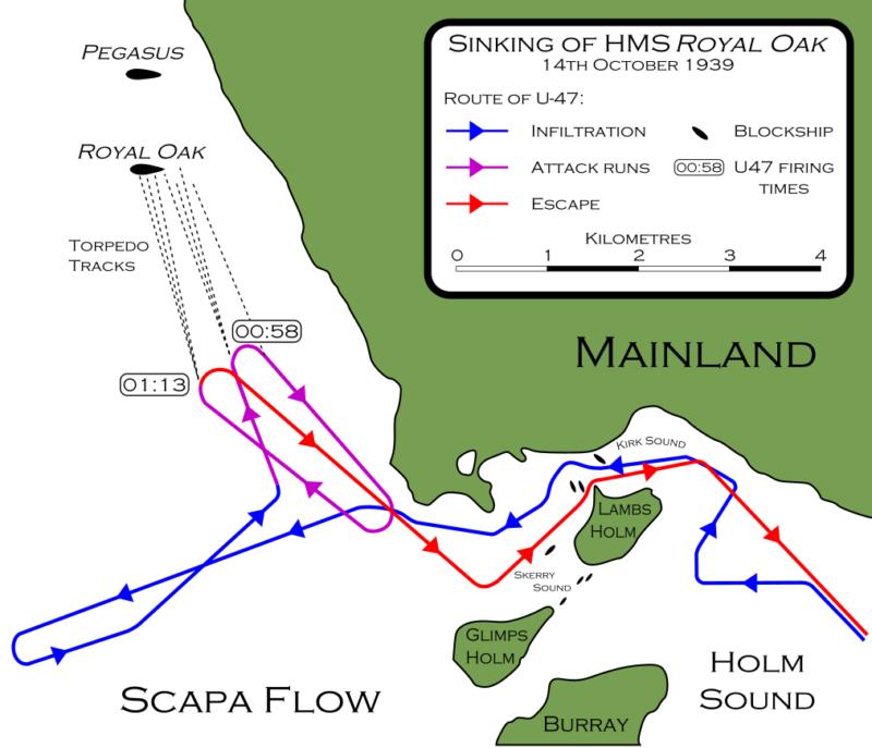 Схема, показывающая маневрирование подлодки «U-47» в гавани Скапа-Флоу.