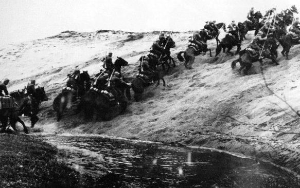 Атака польской кавалерии.