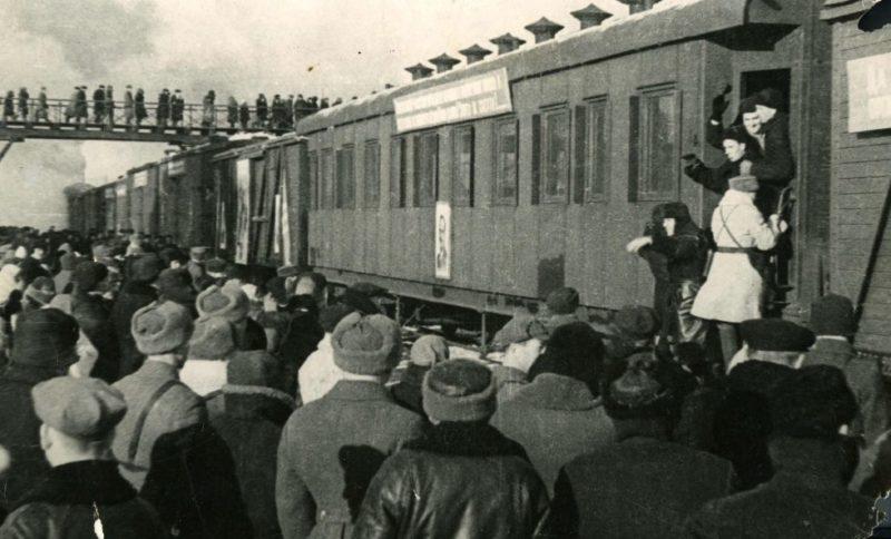 Отправка на фронт добровольцев. Октябрь 1941 г.